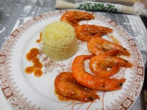 receta langostinos al curry con arroz